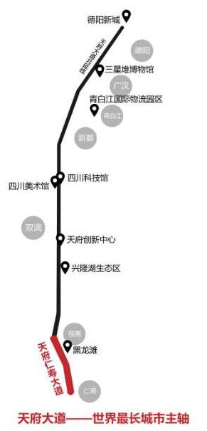 刚刚,天府仁寿大道正式通车,世界最长城市中轴线打开 新南门图片